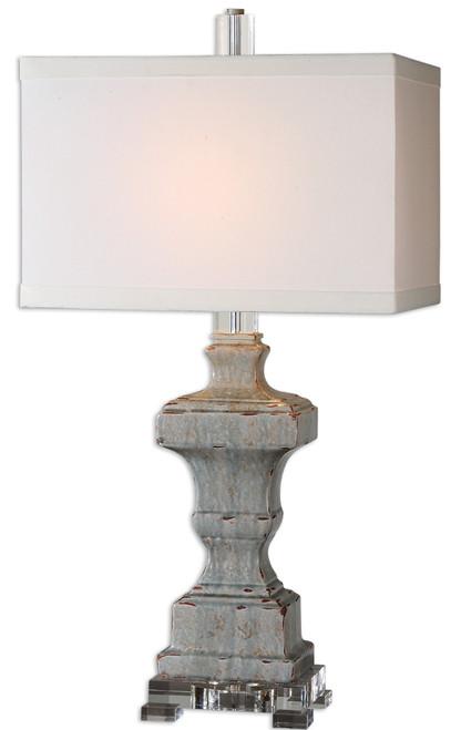 "32"" Distressed Blue Ceramic, Acrylic & White Rectangular Box Shade Table Lamp - IMAGE 1"