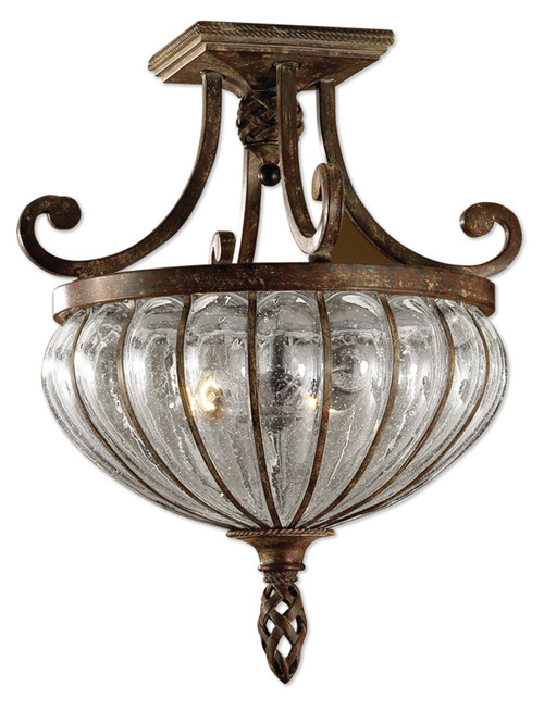 """19"""" Elegant Clear Blown Glass & Clay Patina Iron Ceiling Light Fixture - IMAGE 1"""