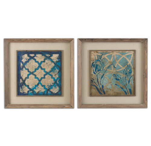 """Set of 2 Blue Stained Glass Framed Print Wall Art 31"""" - IMAGE 1"""