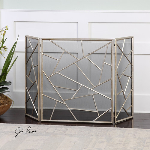 4.25' Silver Modern Decorative Leaf Abstract-Themed Fireplace Screen - IMAGE 1