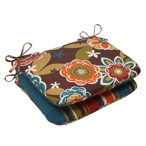 """Set of 2 Tahitian Chocolate Outdoor Patio Reversible Rounded Seat Cushions 18.5"""" - IMAGE 1"""