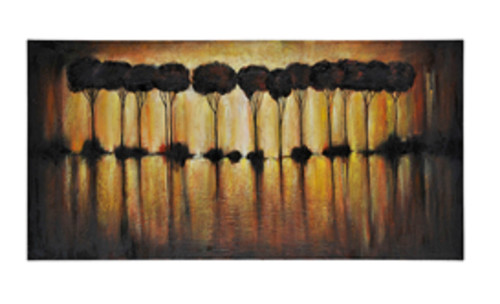 """60"""" x 30"""" Hand Painted Abstract Trees Oil Painting on Canvas Wrapped on Frame - IMAGE 1"""
