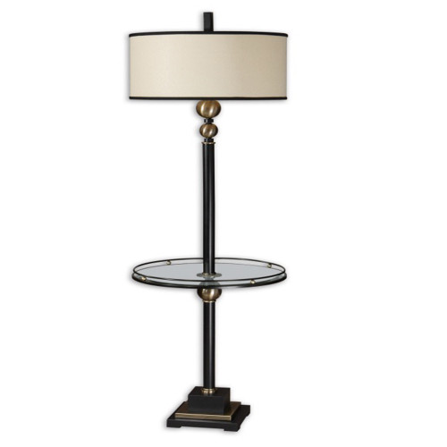 """66"""" Black and Bronze Glass End Table Floor Lamp - IMAGE 1"""
