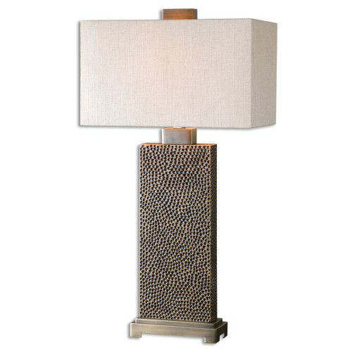 "32 Pitted Blackened Brown Met32"" Beige and Bronze Contemporary Style Table Lamp with Hardback Shadeal Table Lamp with Rectangular Hardback Shade - IMAGE 1"