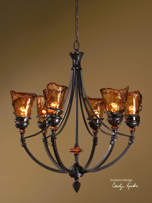 "32"" A Touch Of Elegance's Amber Glass Shade 6-Light Hanging Bronze Chandelier - IMAGE 1"