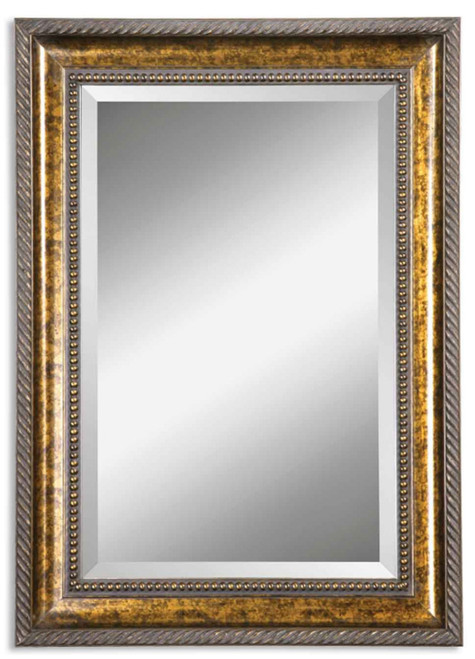 "49"" Decorative Bronze Leaf Wood Framed Beveled Rectangular Wall Mirror - IMAGE 1"