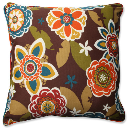 """25"""" Brown and Green Floral Outdoor Corded Square Floor Pillow - IMAGE 1"""