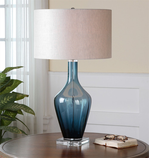 """29"""" Blue and White Translucent with Hardback Drum Shade Table Lamp - IMAGE 1"""