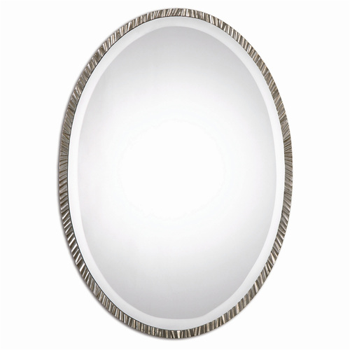 """28"""" Textured Metal Oval Nickel Plated Beveled Wall Mirror - IMAGE 1"""
