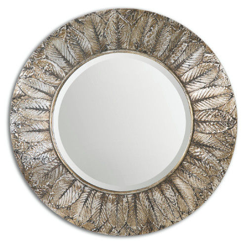 3' Silver Distressed-Finish Antique Style Round Wall Mirror - IMAGE 1