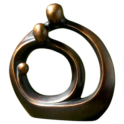 """14"""" Family Circles with A Bronze Patina Finish Round Tabletop Sculpture - IMAGE 1"""