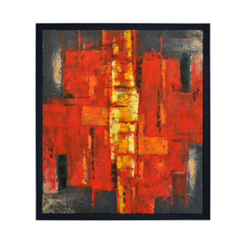 """50"""" x 40"""" Hand Painted Multi-Color Abstract Oil Painting on Canvas in Frame - IMAGE 1"""