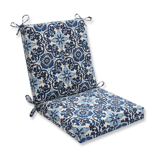 """18"""" x 36.5"""" Brown and Blue Outdoor Patio Chair Cushions - IMAGE 1"""