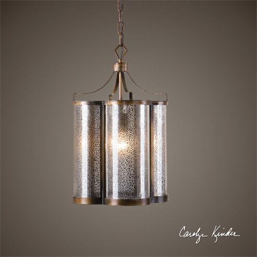 """21"""" Brown and Black Carolyn Kinder Lantern-Style Ceiling Pendant Fixture - IMAGE 1"""