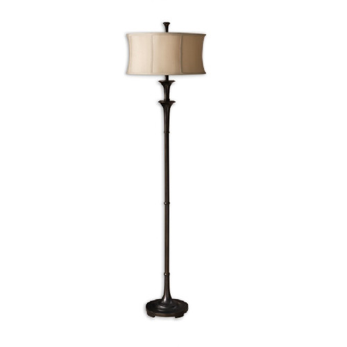"69"" Gold and Bronze Floor Lamp with Champagne Shade - IMAGE 1"