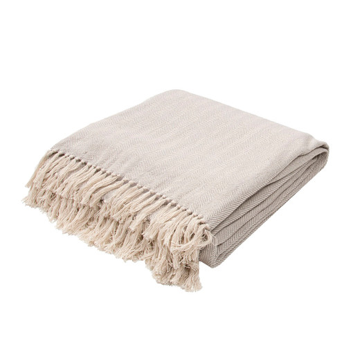 """Gray and Creme White Solid Fringed Throw Blanket 50"""" x 60"""" - IMAGE 1"""