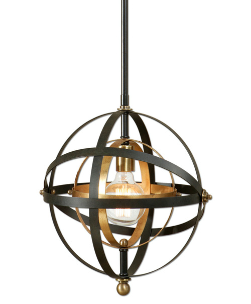 """52"""" Dark Oil Rubbed Bronze and French Gold Sphere Hanging Ceiling Pendant Light - IMAGE 1"""