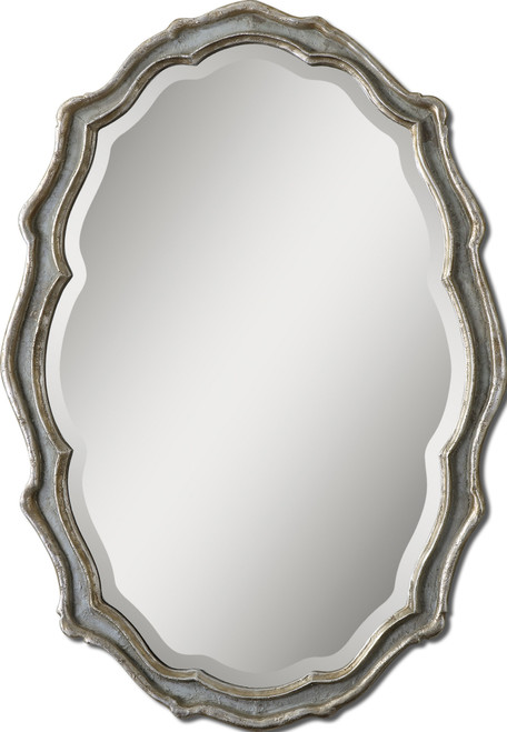 3.25' Antique Silver Leaf and Slate Blue Scalloped Framed Beveled Oval Wall Mirror - IMAGE 1