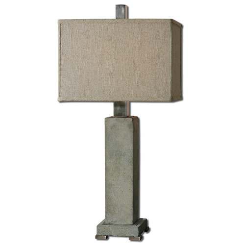 """33"""" Beige and Gray Concrete Rectangular Shade Table Lamp - IMAGE 1"""
