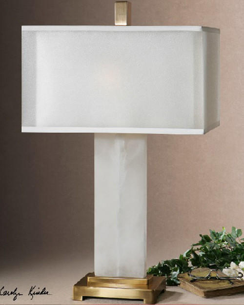 "29"" White Alabaster with Plated Golden Bronze Decorative Table Lamp - IMAGE 1"