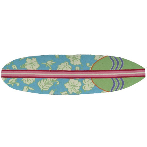 Pack of 2 Light Blue Hawaiian Surfboard Hand Hooked Rectangular Rug Runners 1.7' x 6' - IMAGE 1
