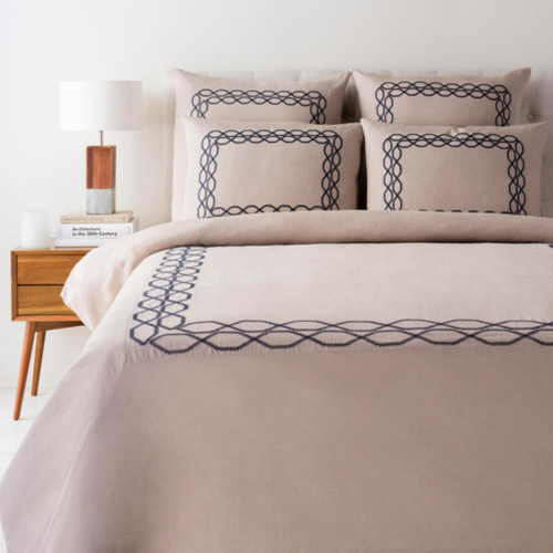 Beige Brown and Prussian Blue Modern Style Linen Twin Set - IMAGE 1