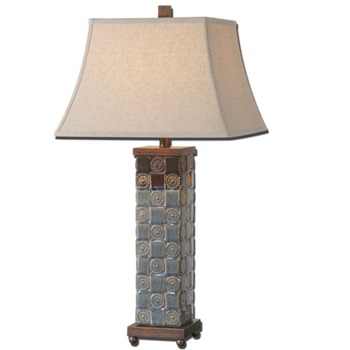 "31"" Beige and Blue Table Lamp with Hardback Shade - IMAGE 1"