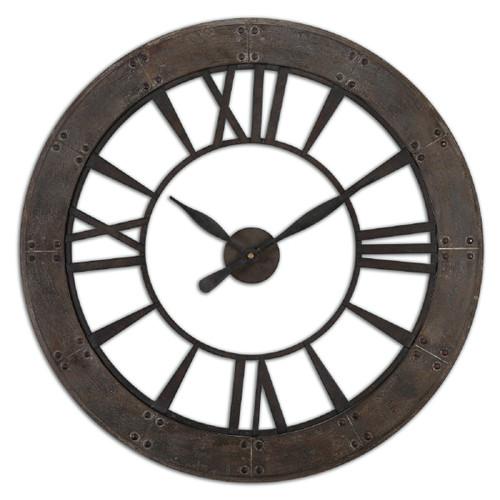 "40"" Bold Corso Dark Bronze Finish Roman Numeral Wall Clock with Rusted Finish - IMAGE 1"
