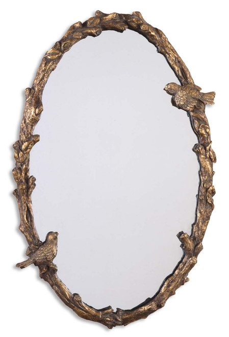 "34"" Antiqued Gold Leaf and Gray Birds and Vine Framed Oval Wall Mirror - IMAGE 1"