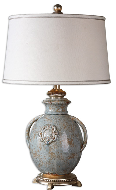 """29"""" Distressed Blue Ceramic Urn and Off-White Round Tapered Drum Shade Table Lamp - IMAGE 1"""