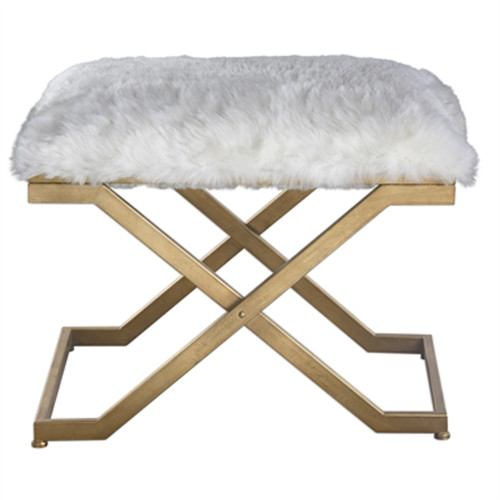 """24"""" White and Gold Faux Fur Cushioned Stool with Metal Base - IMAGE 1"""