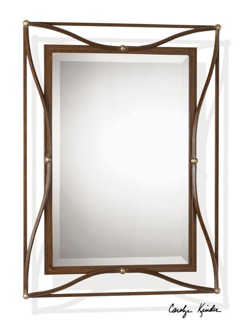 3' Scratched Bronze & Silver Metal Framed Beveled Rectangular Wall Mirror - IMAGE 1
