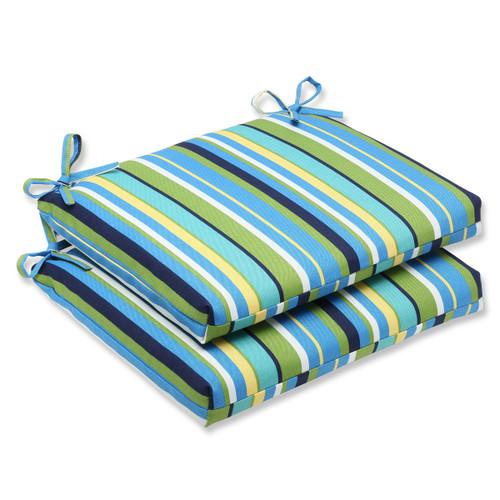 """Set of 2 Strisce Luminose Blue and Yellow Striped Outdoor Patio Rounded Chair Cushions 18.5"""" - IMAGE 1"""