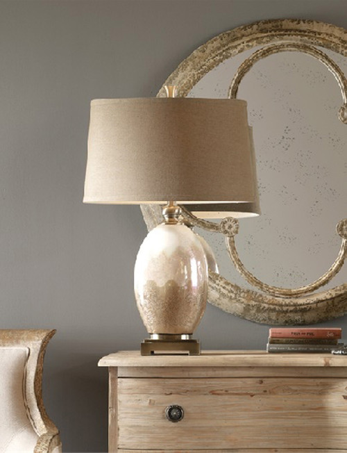 """29.5"""" Ivory White and Sandy Brown Glazed Ceramic Table Lamp - IMAGE 1"""