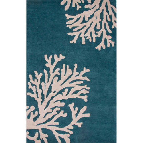 2' x 3' Dark Teal Blue and Sandy Beige Modern Bough Hand Tufted Wool Area Throw Rug - IMAGE 1