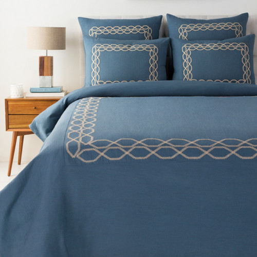 "92"" Spruce Blue and Beige Brown Modern Style Linen Full/Queen Duvet - IMAGE 1"