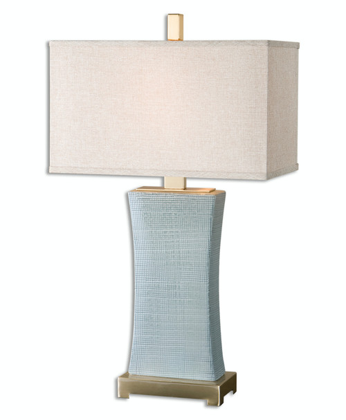 """29"""" Textured Pale Blue Gray Ceramic Table Lamp with Beige Linen Rectangular Shade - IMAGE 1"""