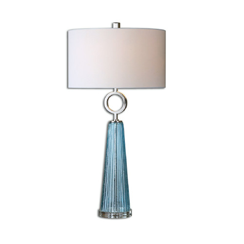 "34"" Blue Ribbed Glass Table Lamp with White Shade - IMAGE 1"