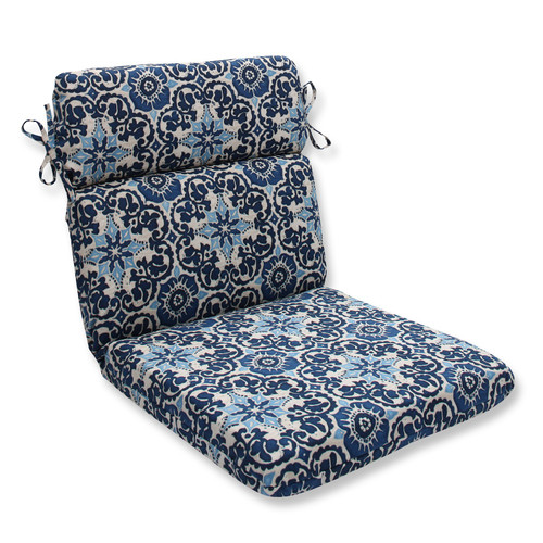 """21"""" x 40.5"""" Brown and Blue Outdoor Patio Chair Cushions - IMAGE 1"""