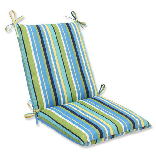 """36.5"""" Strisce Luminose Blue and Green Striped Outdoor Patio Rounded Chair Cushion - IMAGE 1"""
