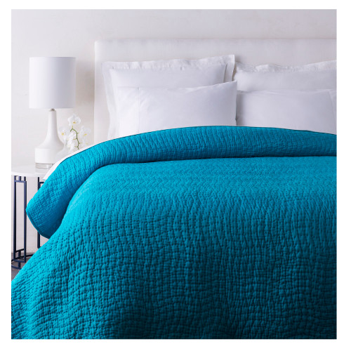 Sweet Dreams Handsomely Woven Teal Blue Cotton and Silk Full/Queen Size Quilt - IMAGE 1