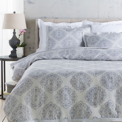 Blue Ashes and Dolphin Gray Decorative King/CA Damask Opulent Duvet - IMAGE 1