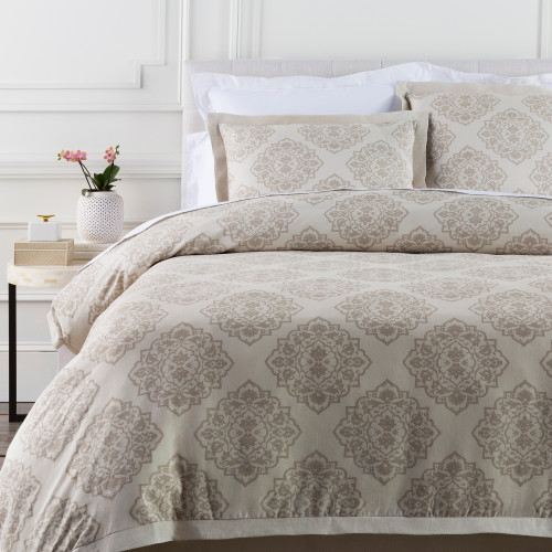 Buff Gray and Deer Brown Linen and Cotton Diamond Floral Duvet - King - IMAGE 1