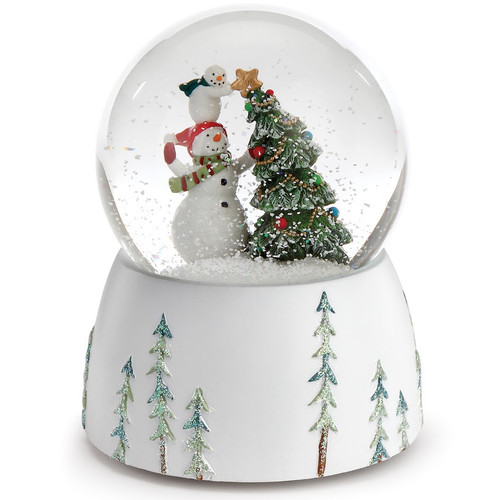 """5.75"""" Snowmen Topping the Christmas Tree with a Star Musical Snow Globe - IMAGE 1"""