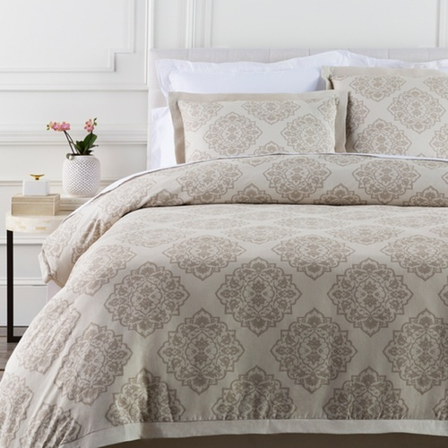 Buff Gray and Deer Brown Linen and Cotton Diamond Floral Full/Queen Duvet - IMAGE 1