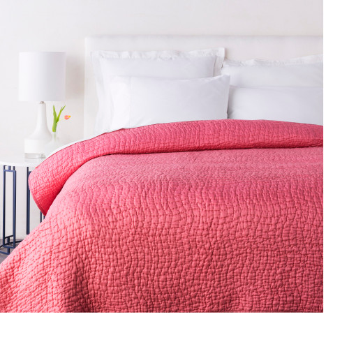 Sweet Dreams Handsomely Woven Peach Orange Cotton and Silk Twin Quilt - IMAGE 1