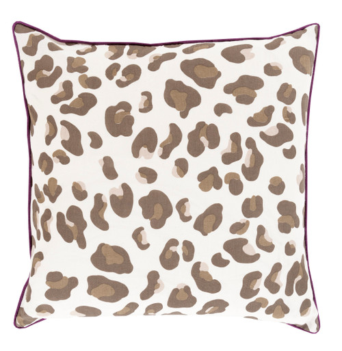 """20"""" Black Coffee and Hazel Brown Leopard Print with Concord Grape Purple Decorative Trim Pillow - Down Filler - IMAGE 1"""