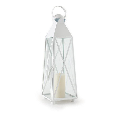 """33"""" White and Clear Contemporary Hanging Pillar Candle Lantern - IMAGE 1"""