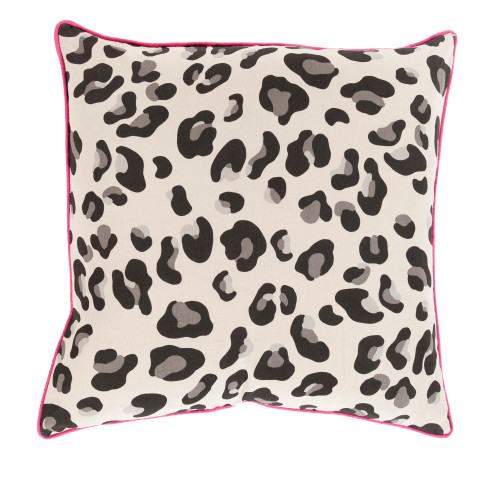 """18"""" Black Cat and Cloud Gray Leopard Print with Lipstick Pink Decorative Trim Pillow - Down Filler - IMAGE 1"""