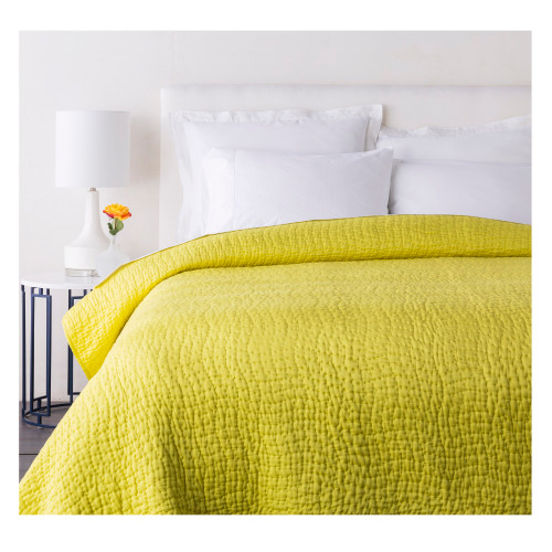 Sweet Dreams Handsomely Woven Marigold Yellow Cotton and Silk Twin Quilt - IMAGE 1